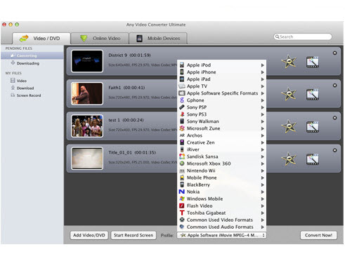 Any DVD Converter for Mac Wii用動画出力