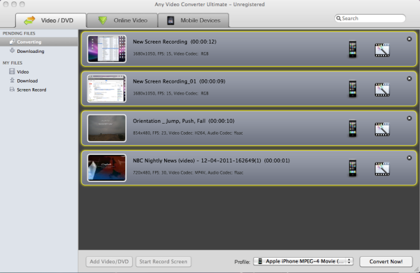 Any Video Converter Ultimate for Mac Wii用動画一括変換